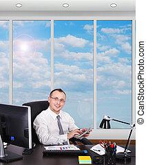 homem negócios, escritório
