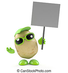 3d Potato protests - 3d render of a potato holding up a...