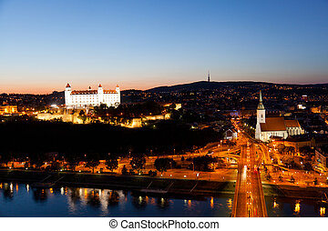 View of the historical center and the lock in Bratislava at...