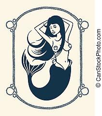 Guiñar, sirena, Ilustración
