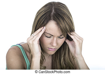 Attractive Young Woman With a Headache