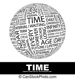 TIME Word cloud illustration Tag cloud concept collage