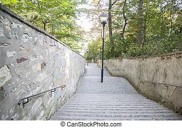 Petrin Hill Park, Prague, Czech Republic - Stairs and...