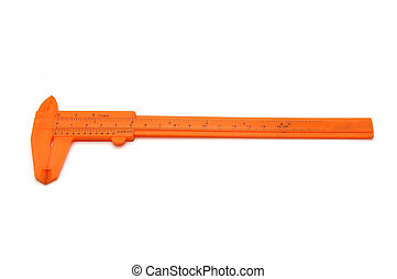 Orange vernier caliper isolated on white background