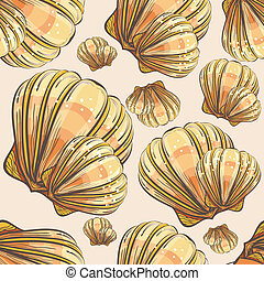 Illustration of hand drawn, retro style, scallop seashell...