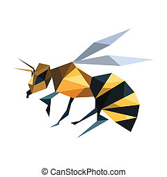 Illustration of abstract origami flying bee