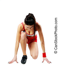 Young sexy fitness woman start running isolated on a white background
