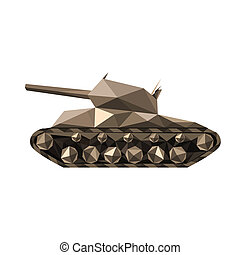 Illustration of abstract geometric polygonal tank isolated...