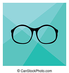 Nerd vector glasses on green - Glasses with black thick...