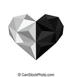 Illustration of black and white origami heart isolated on...