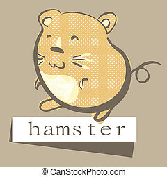 Hamster - Illustration of retro style, hand drawn hamster...
