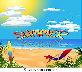 summer card with sea view