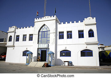 dahab - white castle police station in dahab, red sea,...