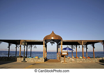 dahab - restaurant on the beach in dahab, red sea, sinai,...