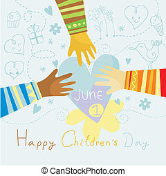 June 1 - Happy, colorful illustration for Children's Day