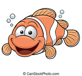 Clownfish - Vector illustration of Happy Clownfish Cartoon
