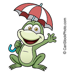 Frog - Vector illustration of Frog holding umbrella