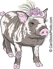 sketch closeup portrait of black fashionable funny Pot-bellied pig  in beautiful hat wit flowers and garter of bride