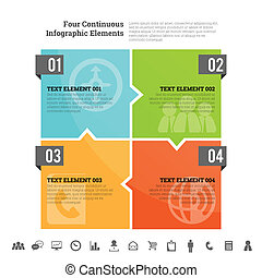 Four Continuous Infographic Element - Vector illustration of...