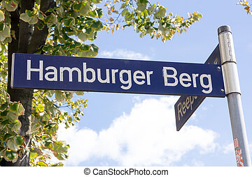 Hamburger Berg Street Sign - Street sign of famous red light...