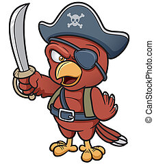 Pirate Parrot - Vector illustration of Cartoon Pirate Parrot