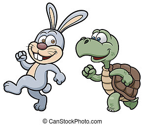 Rabbit and turtle - Vector illustration of Cartoon Rabbit...