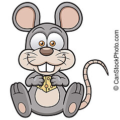 Cartoon rat - Vector illustration of cartoon rat with cheese