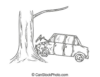 car accident sketch - sketch of the car and tree, accident