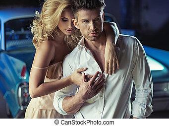 romanticos, quadro, amando, jovem, par