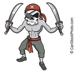 Pirate skull - Vector illustration of cartoon Pirate skull