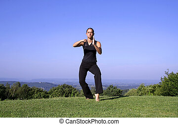 kung fu - attractive young woman practicing self defense