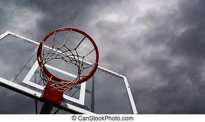Basketball hoop with cage