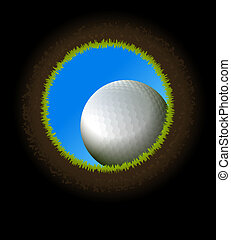Golf ball. -  golf ball near hole. Inside view from below.