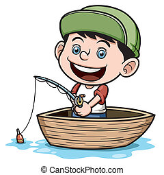 Boy fishing - Vector illustration of Boy fishing in a boat