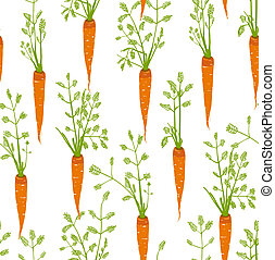 Carrots Freehand Drawing Seamless Pattern - Pattern...