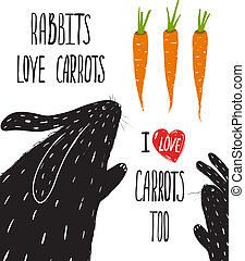 Scratchy Rabbits Love Carrots Lettering - Rabbits and...
