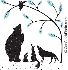Forest Animals News Meeting - Bear fox wolf rabbit crow...