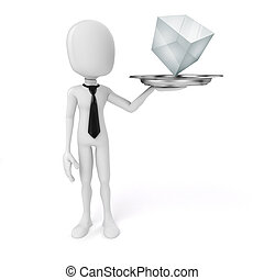 3d man holding a silver plate with glass cube on it