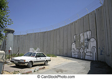 wall of palestine - wall separating israel with the west...