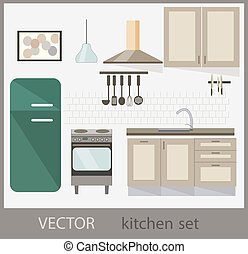 vector set of kitchen furniture