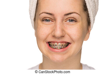 Cheerful girl with braces isolated - Cheerful girl with...