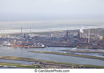 Steel industry at Velsen, The Netherlands from above