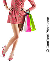 female holding paper bags very close up isolated