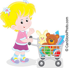 Girl with a shopping trolley of toy - Little buyer going...
