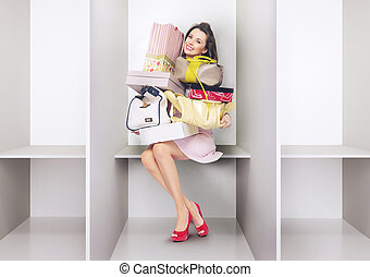 Attractive lady in the changing room - Attractive woman in...