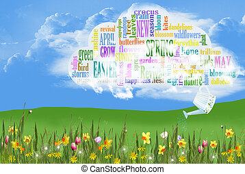 Spring word cloud with flowers - Word cloud with sprinkling...