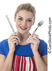 Model Released Attractive Young Woman Holding Cutlery