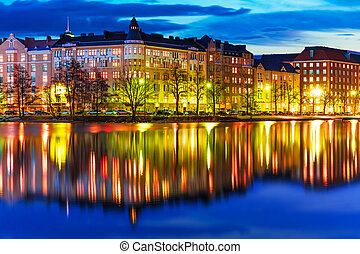 Evening scenery of Helsinki, Finland - Scenic evening...