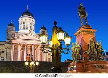 Senate Square at night in Helsinki, Finland - Famous...