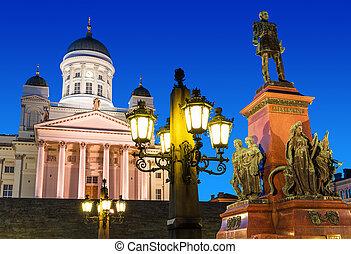 參議院, 夜晚, 廣場, 赫爾辛基,  finland